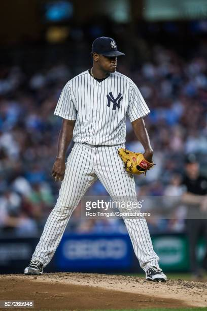 Luis Severino of the New York Yankees pitches during the game against the Detroit Tigers at Yankee Stadium on July 31 2017 in the Bronx borough of...
