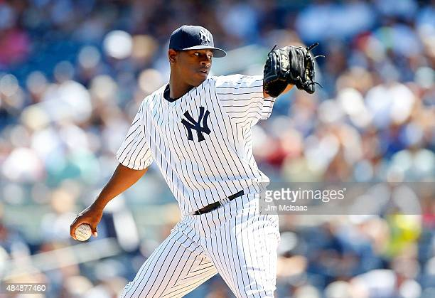 Luis Severino of the New York Yankees pitches in the first inning against the Cleveland Indians at Yankee Stadium on August 22 2015 in the Bronx...