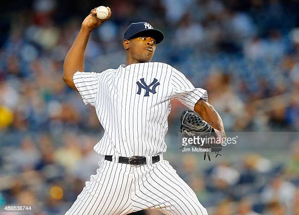 Luis Severino of the New York Yankees pitches in the first inning against the Tampa Bay Rays at Yankee Stadium on September 4 2015 in the Bronx...