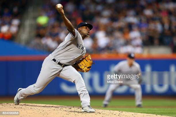 Luis Severino of the New York Yankees pitches in the first inning against the New York Mets at Citi Field on August 17 2017 in the Flushing...