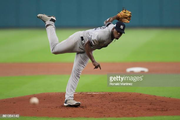 Luis Severino of the New York Yankees pitches in the first inning against the Houston Astros during game two of the American League Championship...