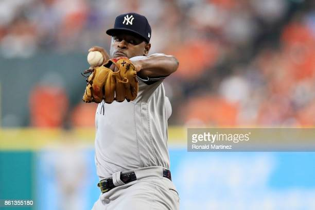 Luis Severino of the New York Yankees pitches in the second inning against the Houston Astros during game two of the American League Championship...