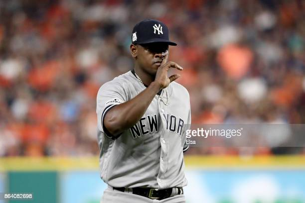Luis Severino of the New York Yankees reacts after a pitch to Alex Bregman of the Houston Astros during the second inning in Game Six of the American...