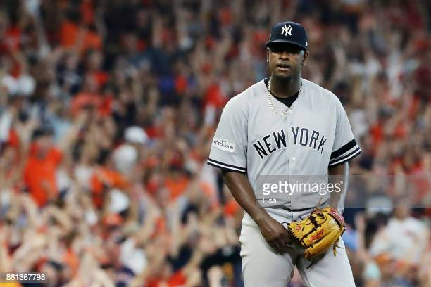Luis Severino of the New York Yankees reacts after Carlos Correa of the Houston Astros hit a solo homerun in the fourth inning during game two of the...