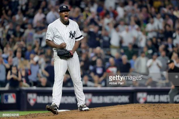 Luis Severino of the New York Yankees reacts after closing out the top of the second inning against the Cleveland Indians in Game Four of the...