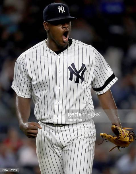 Luis Severino of the New York Yankees reacts after getting out of a jam in the third inning against the Tampa Bay Rays at Yankee Stadium on September...
