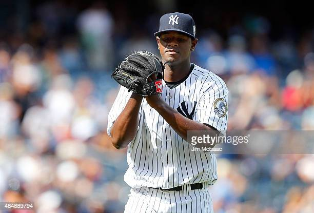 Luis Severino of the New York Yankees reacts as he walks to the dugout after the sixth inning against the Cleveland Indians at Yankee Stadium on...