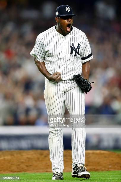 Luis Severino of the New York Yankees reacts to getting the final out of the top of the seventh inning during Game 4 of the American League Division...
