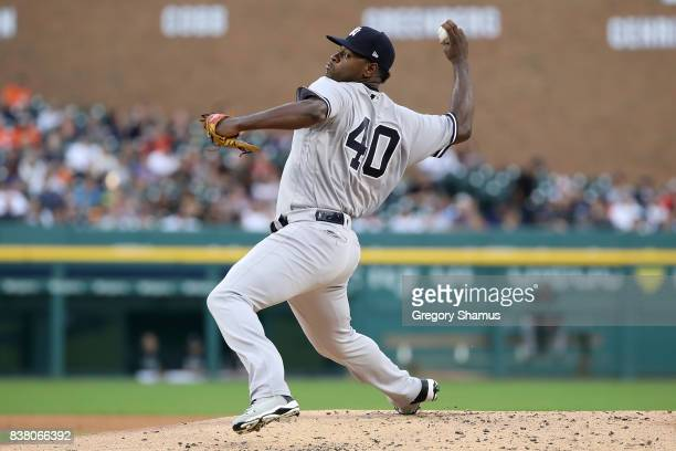 Luis Severino of the New York Yankees throws a first inning pitch while playing the Detroit Tigers at Comerica Park on August 23 2017 in Detroit...