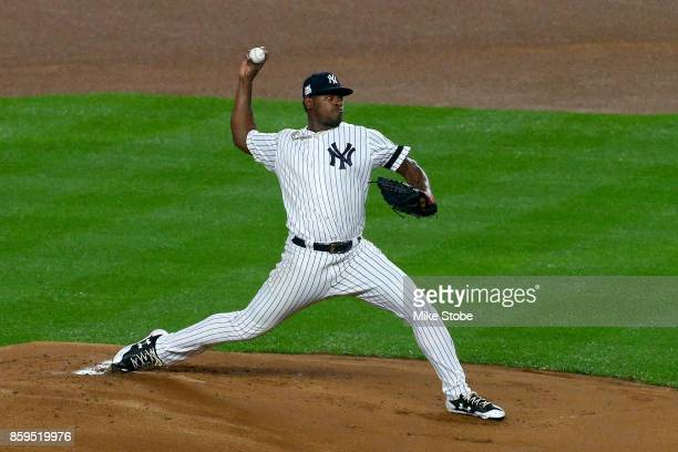 Luis Severino of the New York Yankees throws a pitch against the Cleveland Indians during the first inning in Game Four of the American League...