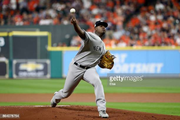 Luis Severino of the New York Yankees throws a pitch against the Houston Astros during the first inning in Game Six of the American League...