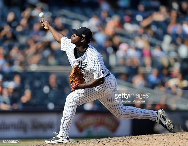 Luis Severino of the New York Yankees throws a pitch in relief during the game against the Tampa Bay Rays on September 11 2016 at Yankee Stadium in...