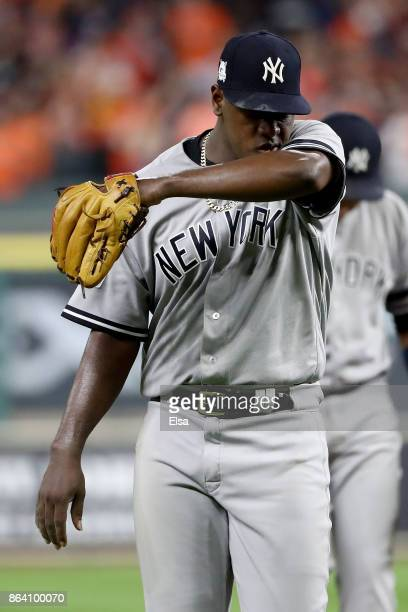 Luis Severino of the New York Yankees walks back to the dugout after being taken out of the game against the Houston Astros during the fifth inning...
