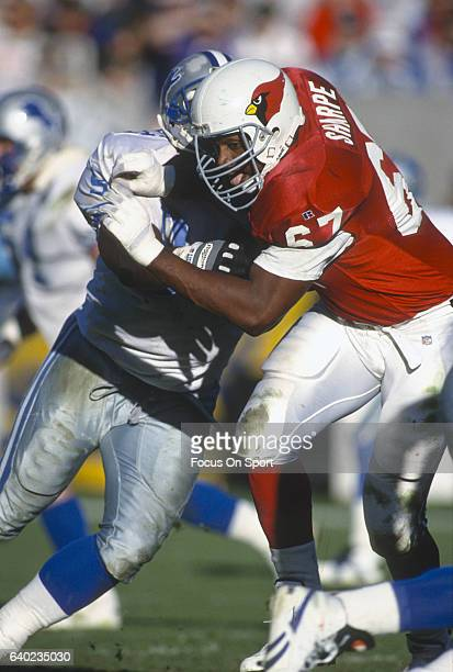 Luis Sharpe of the Phoenix Cardinals in action against the Detroit Lions during an NFL football game December 12 1993 at Sun Devil Stadium in Tempe...