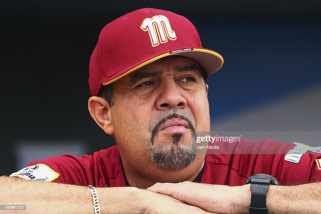 <a gi-track='captionPersonalityLinkClicked' href=/galleries/search?phrase=Luis+Sojo&family=editorial&specificpeople=213005 ng-click='$event.stopPropagation()'>Luis Sojo</a>, coach of Venezuela looks on during the Caribbean Series 2013 at Sonora Stadium on February 03, 2013 in Hermosillo, Mexico.