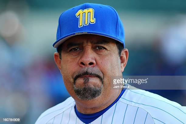 Luis Sojo manager of Venezuela looks on during a match between Puerto Rico and Venezuela as part of the Caribbean Series 2013 at Sonora Stadium on...