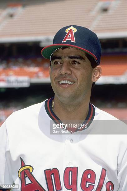 Luis Sojo of the California Angels smiles before a game against the Oakland Athletics in the 1991 season at Anaheim Stadium in Anaheim California