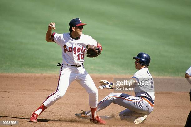 Luis Sojo of the California Angels throws during a game against the Detroit Tigers in the 1991 season at Anaheim Stadium in Anaheim California
