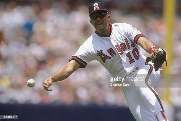 Luis Sojo of the California Angels throws during the game against the Cleveland Indians at Anaheim Stadium on May 31 1992 in Anaheim California