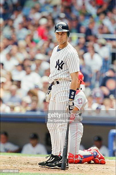 Luis Sojo of the New York Yankees bats against the Texas Rangers at Yankee Stadium on August 15 1998 in the Bronx borough of New York City