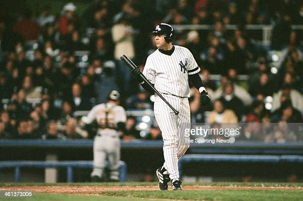 Luis Sojo of the New York Yankees bats during Game Four of the American League Division Series against the Oakland Athletics on October 7 2000 at...