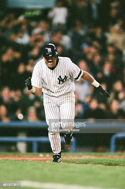 Luis Sojo of the New York Yankees celebrates during Game Three of the American League Division Series against the Oakland Athletics on October 6 2000...