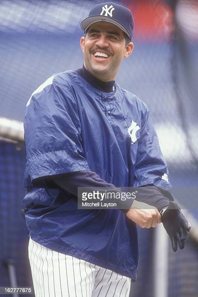 Luis Sojo of the New York Yankees looks on before a baseball game against the Texas Rangers on May 1 1997 at Yankee Stadium in the Bronx borough of...