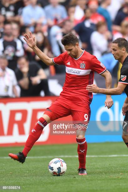 Luis Solignac of Chicago Fire dribbles the ball during a MLS Soccer game against the DC United at RFK Stadium on May 20 2017 in Washington DC The...
