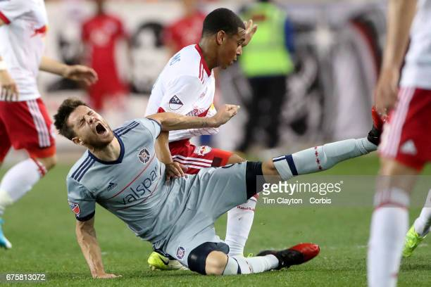 Luis Solignac of Chicago Fire is challenged by Tyler Adams of New York Red Bulls during the New York Red Bulls Vs Chicago Fire MLS regular season...