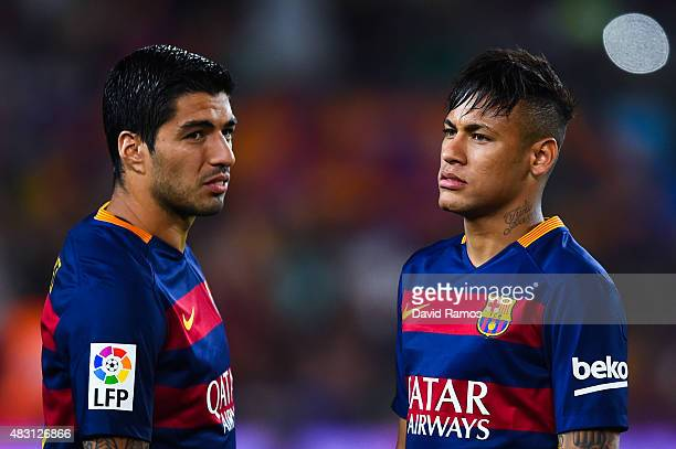 Luis Suarez and Neymar of FC Barcelona look on during the Joan Gamper trophy match at Camp Nou on August 5 2015 in Barcelona Spain
