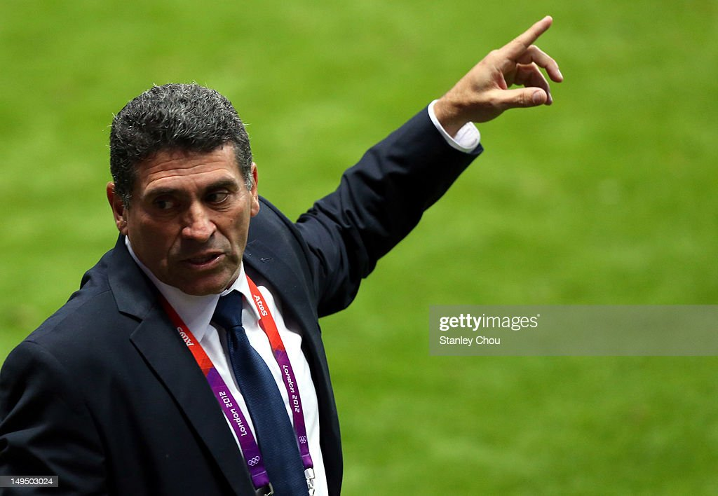 Luis Suarez coach of Honduras reacts during the Men's Football first round Group D match between Spain and Honduras on Day 2 of the London 2012 Olympic Games at St James' Park on July 29, 2012 in Newcastle upon Tyne, England.
