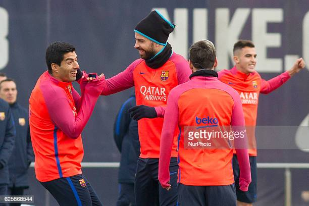 Luis Suarez Gerard Piqué and Leo Messi during the FC Barcelona's training session before the match agasint Real Sociedad on November 26 in FC...