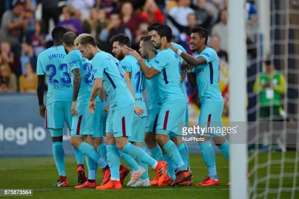 Luis Suarez Jordi Alba during the match between CD Leganes vs FC Barcelona week 12 of La Liga at Butarque stadium Leganes Madrid Spain on 18th...