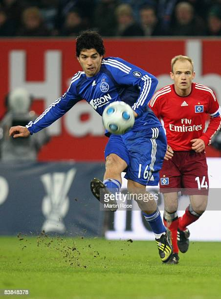 Luis Suarez of Amsterdam shoots at goal during the UEFA Cup Group F match between Hamburger SV and Ajax Amsterdam at the HSH Nordbank Arena on...