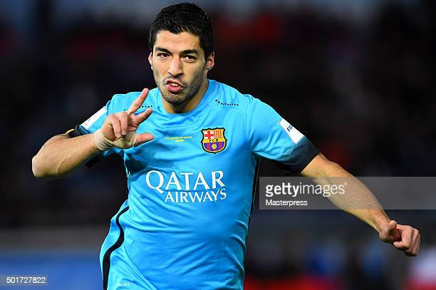Luis Suarez of Barcelona celebrates after scoring during the FIFA Club World Cup Semi Final match between Barcelona and Guangzhou Evergrande FC at...