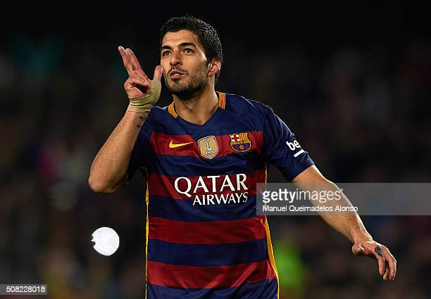 Luis Suarez of Barcelona celebrates scoring his team's seventh goal during the Copa del Rey Semi Final first leg match between FC Barcelona and...