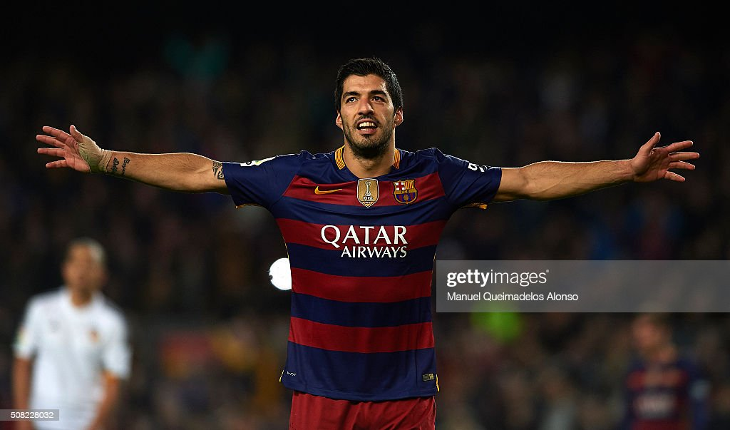 Luis Suarez of Barcelona celebrates scoring his team's seventh goal during the Copa del Rey Semi Final, first leg match between FC Barcelona and Valencia CF at Nou Camp on February 03, 2016 in Barcelona, Spain.