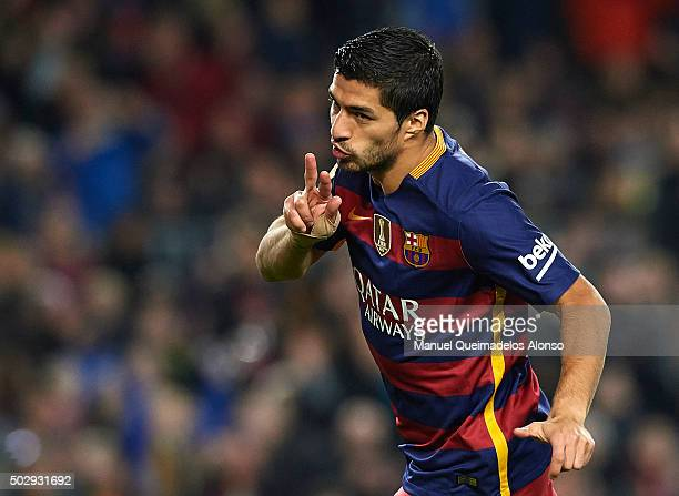 Luis Suarez of Barcelona celebrates scoring his team's third goal during the La Liga match between FC Barcelona and Real Betis Balompie at Camp Nou...