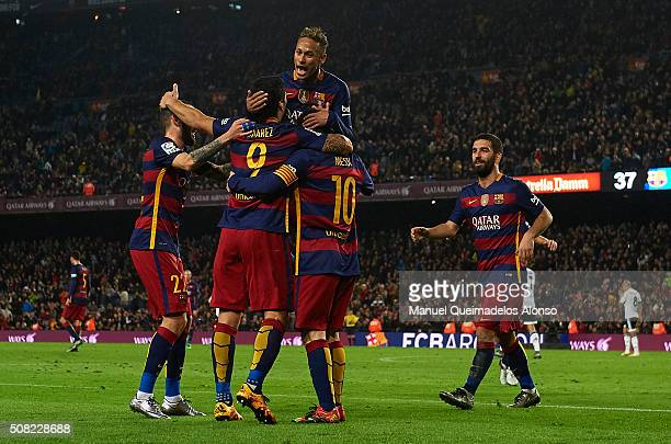 Luis Suarez of Barcelona celebrates with his teammates Lionel Messi Aleix Vidal and Neymar JR during the Copa del Rey Semi Final first leg match...