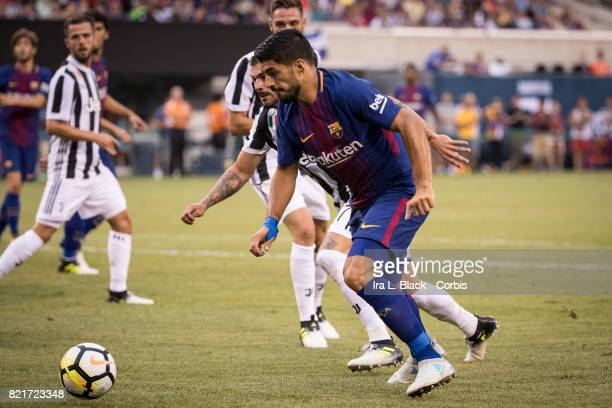 Luis Suarez of Barcelona drives toward the goal during the International Champions Cup match between FC Barcelona and Juventus at the MetLife Stadium...