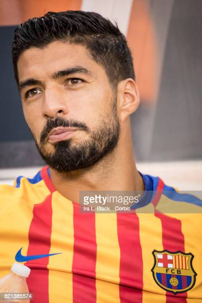 Luis Suarez of Barcelona during the International Champions Cup match between FC Barcelona and Juventus at the MetLife Stadium on July 22 2017 in...