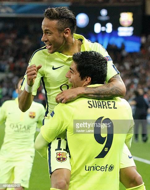 Luis Suarez of Barcelona FC celebrate his second with Neymar jr during the UEFA Champions League Quarter Final First leg between Paris SaintGermain...