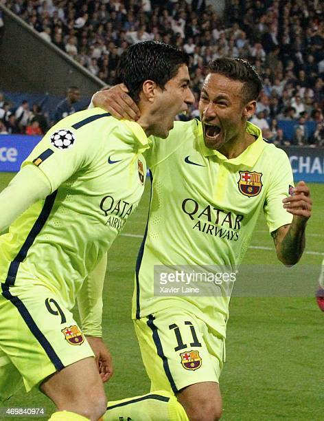 Luis Suarez of Barcelona FC celebrate his second with Neymar jr during the UEFA Champions League Quarter Final First leg between Paris SaintGermain...