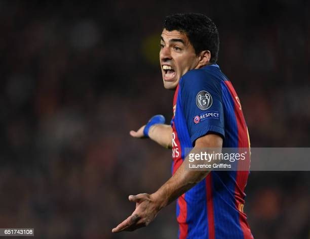 Luis Suarez of Barcelona gestures during the UEFA Champions League Round of 16 second leg match between FC Barcelona and Paris SaintGermain at Camp...