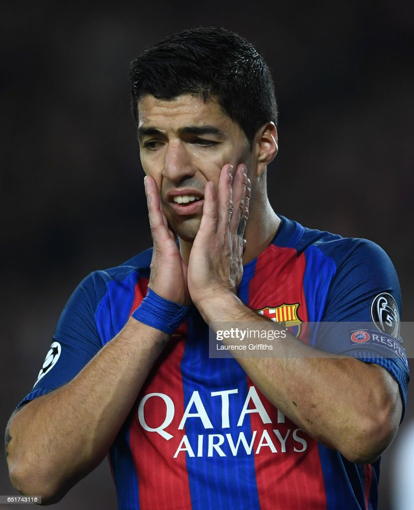 Luis Suarez of Barcelona gestures during the UEFA Champions League Round of 16 second leg match between FC Barcelona and Paris Saint-Germain at Camp Nou on March 8, 2017 in Barcelona, Spain.