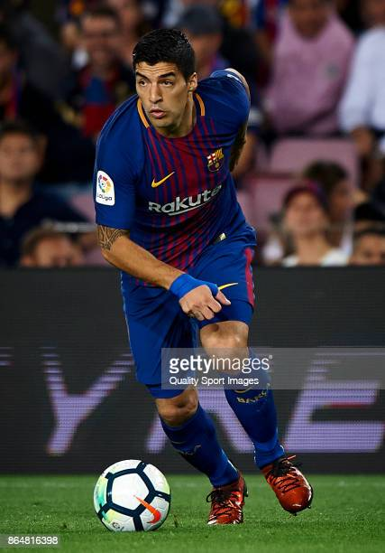 Luis Suarez of Barcelona in action during the La Liga match between Barcelona and Malaga at Camp Nou on October 21 2017 in Barcelona Spain
