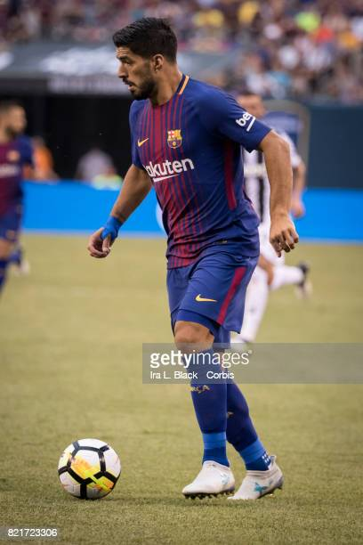 Luis Suarez of Barcelona looks for the opening during the International Champions Cup match between FC Barcelona and Juventus at the MetLife Stadium...