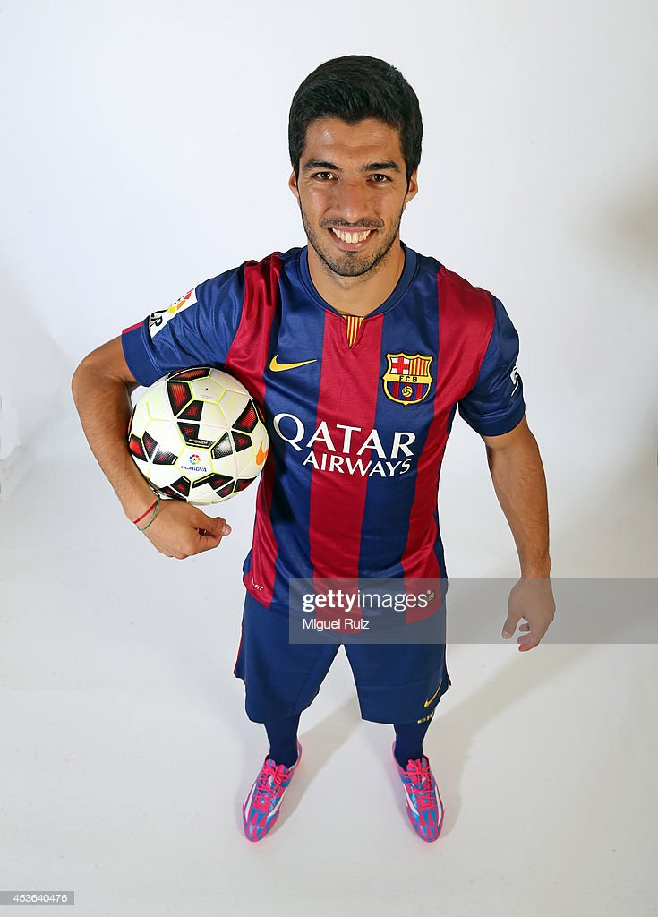 Luis Suarez of Barcelona poses during a portrait session at the Ciutat Esportiva on August 15, 2014 in Barcelona, Spain.
