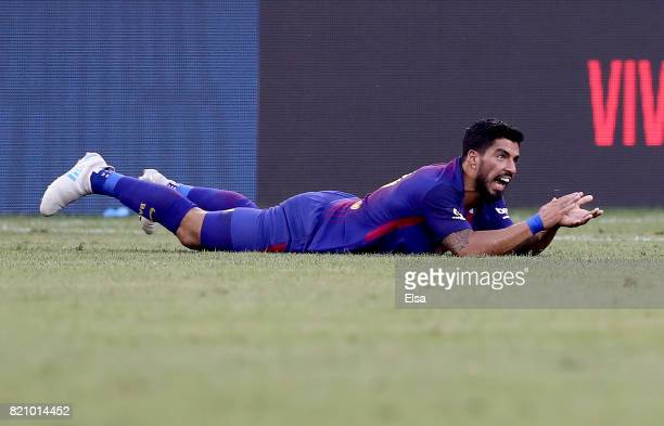 Luis Suarez of Barcelona reacts after he is tripped in the second half against Juventus during the International Champions Cup 2017 on July 22 2017...