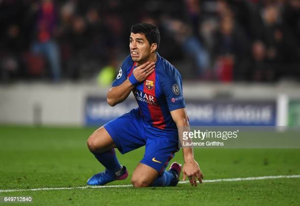 Luis Suarez of Barcelona reacts as he is awarded a penalty during the UEFA Champions League Round of 16 second leg match between FC Barcelona and...